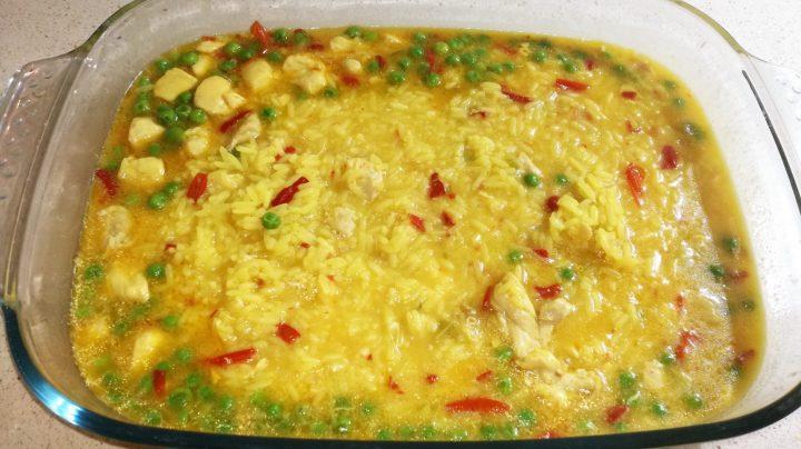Fuente arroz con pollo en la Thermomix.