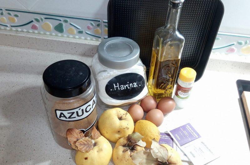 Ingredientes para hacer el bizcocho de membrillo en la Thermomix.