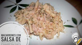 Macarrones con salsa de champiñones y carne picada
