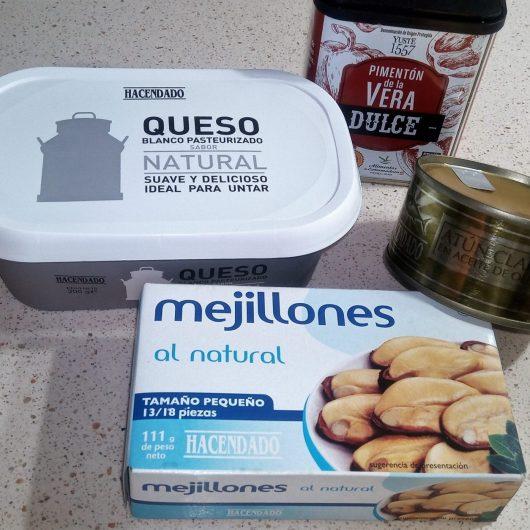 Ingredientes para hacer el paté de mejillones en la Thermomix