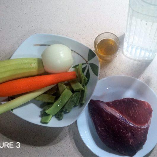 Ingredientes puré de verduras y ternera en olla GM
