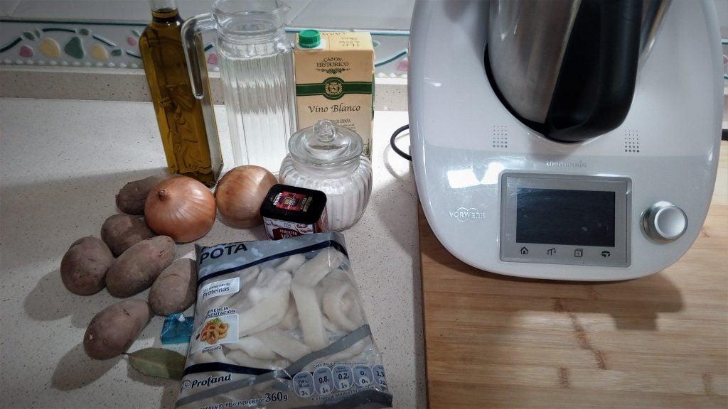 Ingredientes para hacer el guiso de calamares y patatas con Thermomix