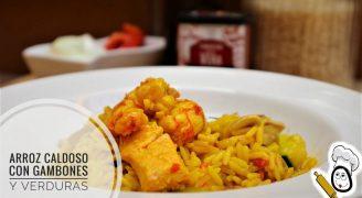 Thermomix tm6 arroz caldoso con gambones y verduras