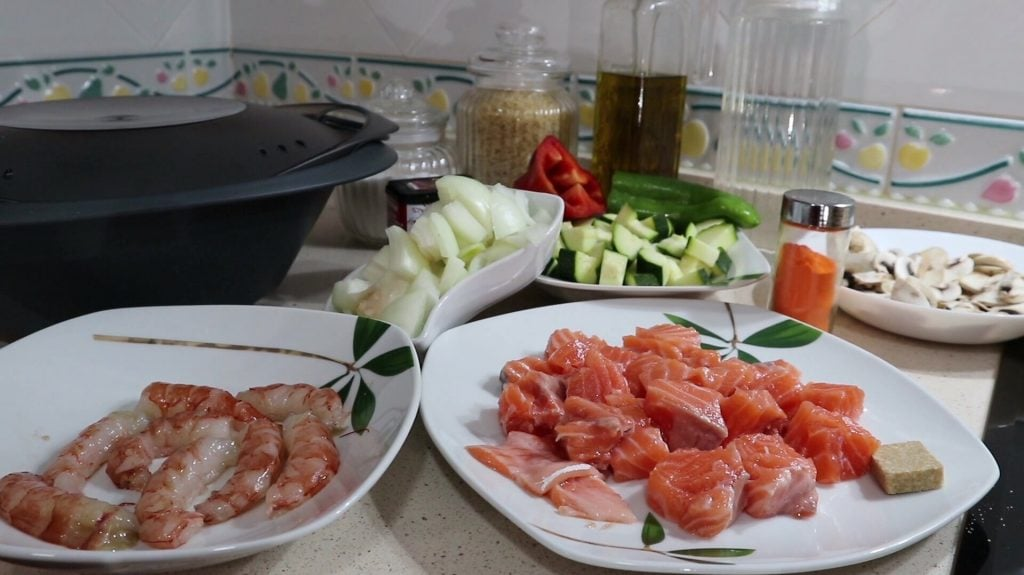 Ingredientes para hacer arroz caldoso y gambones en Thermomix tm6