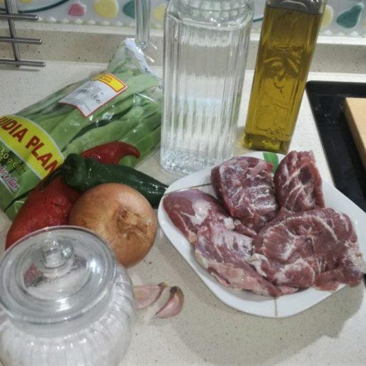 Ingredientes para hacer carrilleras con judías verdes en Olla Gm