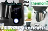 Tabla equivalencia Mambo y Thermomix
