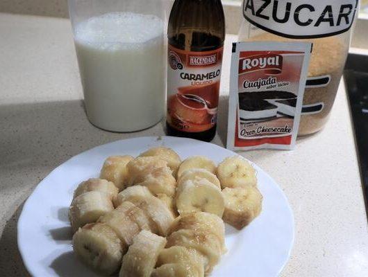 Ingredientes para hacer flan de plátano