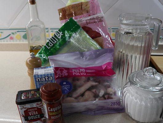 Ingredientes para hacer la emulsión de pulpo con Thermomix