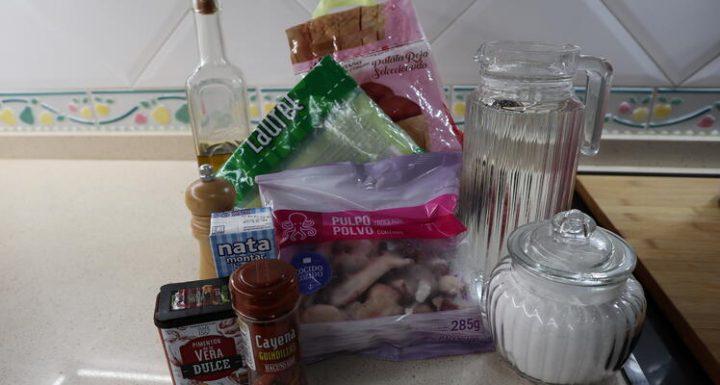 Los Ingredientes necesarios para hacer la emulsión de pulpo con Thermomix