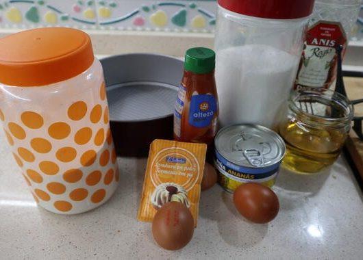 Los ingredientes necesarios para hacer bizcocho de piña en Thermomix
