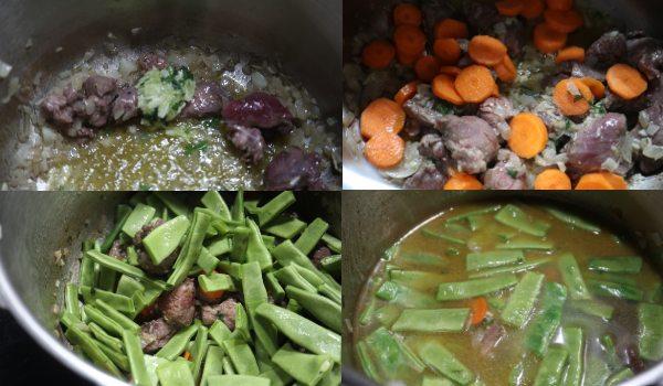 Ponemos todos los ingredientes dentro de la olla y la cocemos en la olla rápida