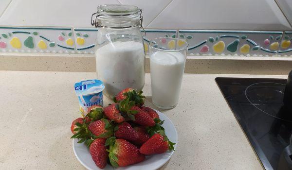 Los ingredientes necesarios para hacer batidos de fresa con Mambo Cecotec