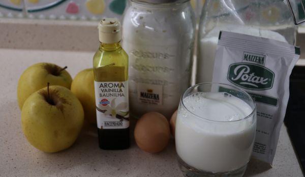 Los ingredientes necesarios para hacer las natillas con manzana