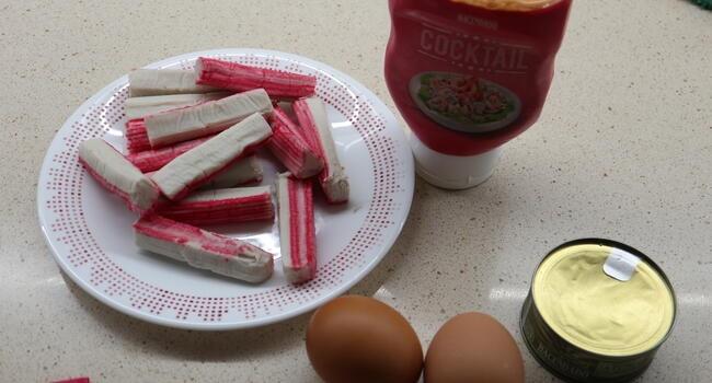 Los ingredientes necesarios para hacer el paté de cangrejo en Thermomix