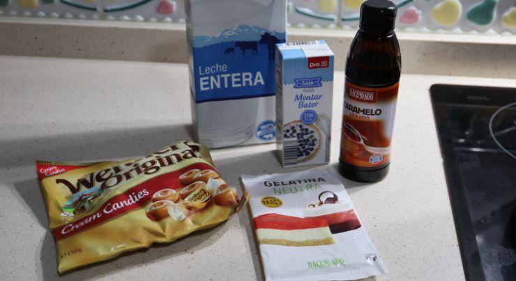Los ingredientes necesarios para hacer la panna cotta de caramelo Werthe's en Mambo