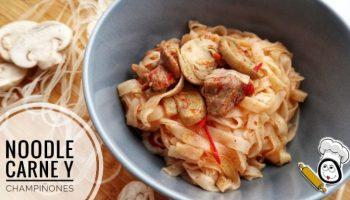 Noodle de carne y champiñones en Thermomix