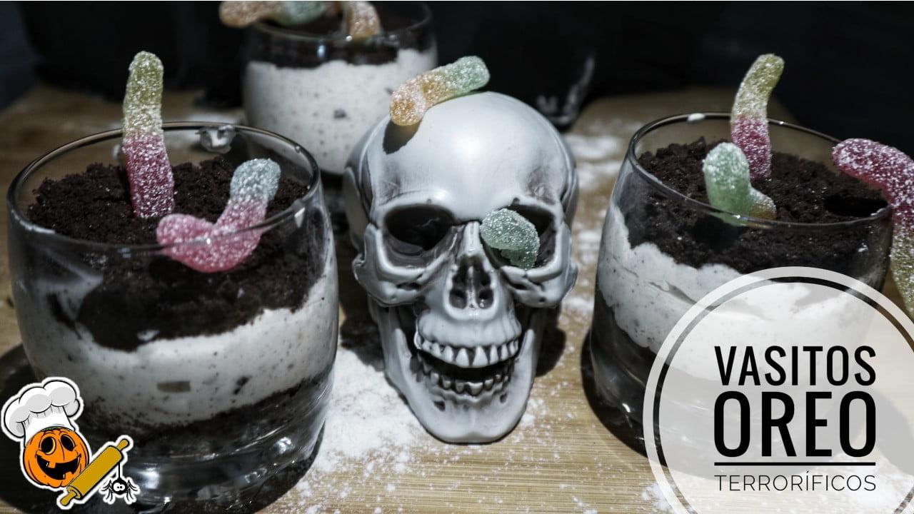 Vasitos de galletas Oreo para hacer con Thermomix para Halloween